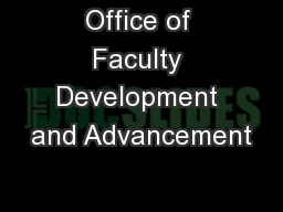 Office of Faculty Development and Advancement