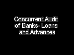 Concurrent Audit of Banks- Loans and Advances