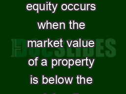 Quarterly Bulletin  Q Introduction Negative equity occurs when the market value of a property is below the outstanding value of the mortgage secured on it