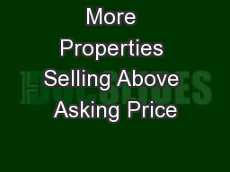 More Properties Selling Above Asking Price