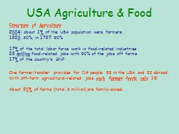 USA Agriculture & Food PowerPoint PPT Presentation