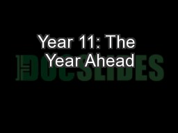 Year 11: The Year Ahead