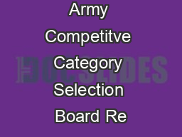 FY Colonel Army Competitve Category Selection Board Re
