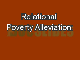 Relational Poverty Alleviation:
