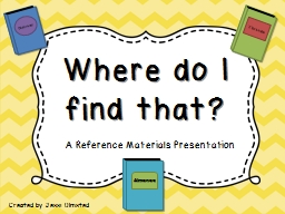A Reference Materials Presentation