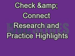 Check & Connect Research and Practice Highlights