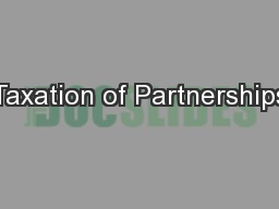 Taxation of Partnerships