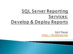 SQL Server Reporting Services: