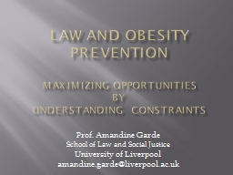 Law and Obesity Prevention