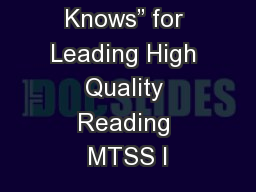 """Need to Knows"" for Leading High Quality Reading MTSS I"