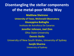 Disentangling the stellar components of the metal-poor Milk