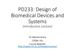 PD233: Design of Biomedical Devices and Systems