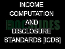 INCOME COMPUTATION AND DISCLOSURE STANDARDS [ICDS]