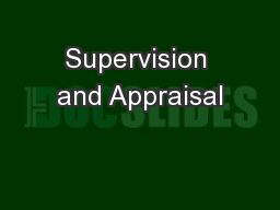 Supervision and Appraisal PowerPoint PPT Presentation