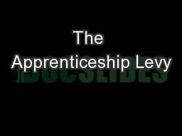The Apprenticeship Levy