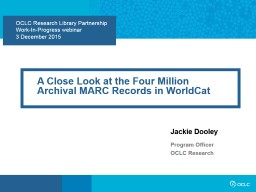 OCLC Research Library Partnership
