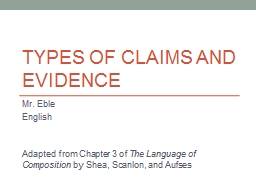 Types of Claims and Evidence PowerPoint PPT Presentation