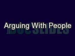 Arguing With People