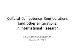 Cultural Competence Considerations [and other alliterations