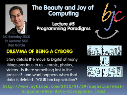 The Beauty and Joy of Computing