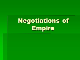 Negotiations of Empire