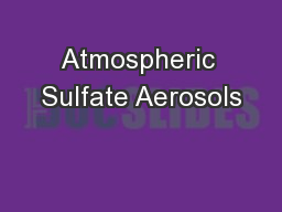 Atmospheric Sulfate Aerosols