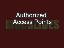 Authorized Access Points