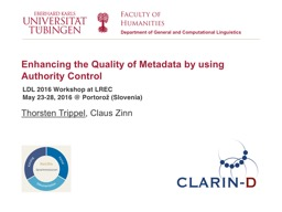 Enhancing the Quality of Metadata by using Authority Contro
