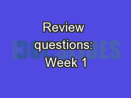 Review questions: Week 1