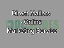 Direct Mailers - Online Marketing Service