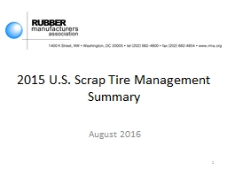 2015 U.S. Scrap Tire Management Summary