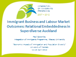 Immigrant Business and Labour Market Outcomes: Relational E
