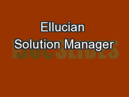 Ellucian Solution Manager