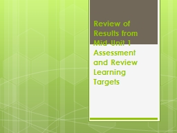 Review of Results from Mid-Unit 1 Assessment and Review Lea