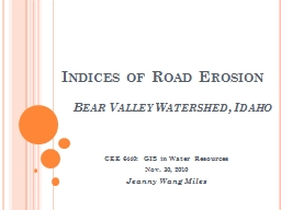 Indices of Road Erosion