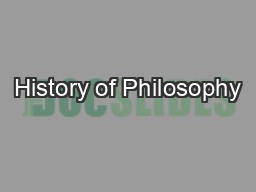 History of Philosophy PowerPoint PPT Presentation
