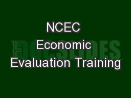 NCEC Economic Evaluation Training
