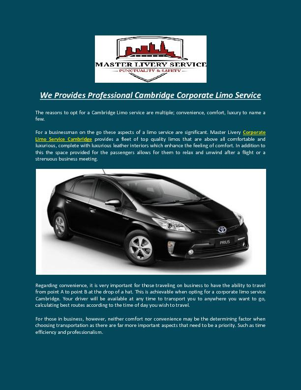 We Provides Professional Cambridge Corporate Limo Service