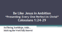 Be Like Jesus in Ambition