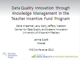 Data Quality Innovation through Knowledge Management in the
