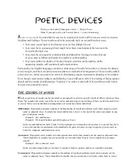 Poetic Devices Poetry is the kind of thing poets write