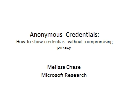 Anonymous Credentials: