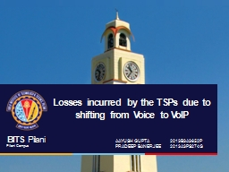 Losses incurred by the TSPs due to shifting from Voice to V