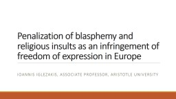 Penalization of blasphemy and religious insults as an infri