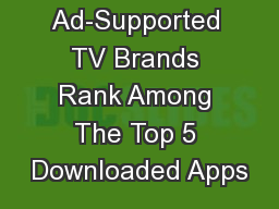 Ad-Supported TV Brands Rank Among The Top 5 Downloaded Apps