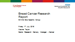 Breast Cancer Research Report
