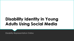 Disability Identity in Young Adults Using Social Media