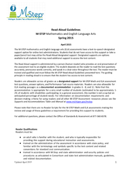 Updated pril  Read Aloud Guidelines STEP Math ematics