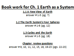 Book work for Ch. 1 Earth as a System