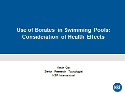 Use of Borates in Swimming Pools: